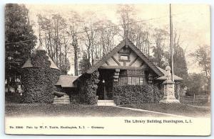 Postcard NY LI Long Island Huntington Library Building Pub by WV Tuttle F07