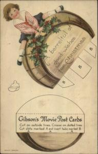 Mechanical Gibson's Movie Postcard Barrel of Good Christmas Paper Cut Out