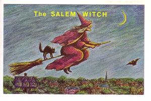 Witch and Black Cat on Broom, The Salem Witch