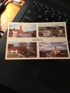 Vtg Postcard:Greetings from Norwich,multi view, posted 1957