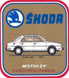 105/120 1976 SKODA AUTO MANUFACTURING LABEL CZECHOSLOVAKIA