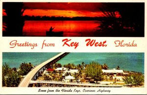 Florida Key West Greetings Showing Overseas Highway and Beautiful Sunset