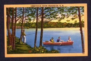 NH Greetings from FRANKLIN NEW HAMPSHIRE Linen Postcard