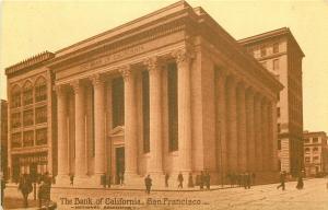 San Francisco California~Bank Of California~Hue Columns~1910 Sepia Postcard