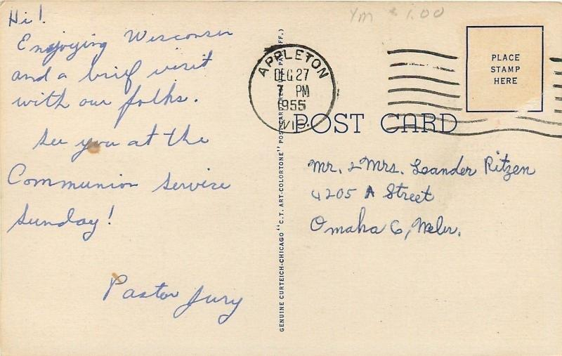 Appleton Wisconsin~Along Fox River Valley Showing Paper Industry 1955 Linen PC