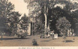 G45/ Sherburne New York RPPC Postcard c1910 High School and Park