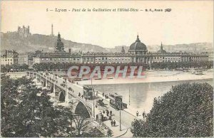 Old Postcard Lyon Guillotiere Bridge and the Hotel Dieu Tram