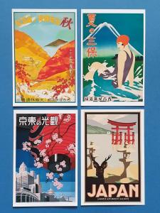 Postcards, Set of 4 NEW Stunning Japanese 1930's Repro Travel Posters, Japan 39i
