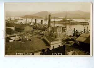 203121 BRAZIL SANTOS port military ship Vintage photo postcard