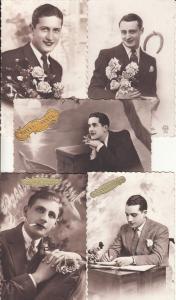 Handsome elegant young gentlemen with roses cigarette smoker postcards set