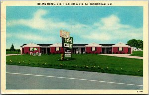 Rockingham, North Carolina Postcard RO-JAN MOTEL Route 1 Roadside Linen 1954