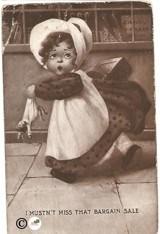 Little Girl with Doll in Sepia I Mustn't Miss That Bargain Sale Vintage Postcard