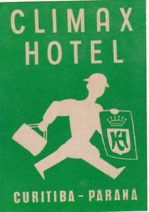 BRASIL CURITIBA CLIMAX HOTEL VINTAGE LUGGAGE LABEL
