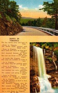 Virginia Waterfall and Highway Scene Down In VIrginia