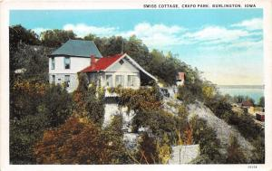 Burlington Iowa~Crapo Park Swiss Cottage on Hillside~1920s Postcard