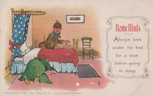 Home Hints Check For Peeping Tom Man Hiding Under The Bed Comic Humour Postcard