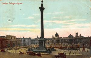 London Trafalgar Square Horse Carriage Rides Postcard