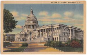 U.S. Capitol, Washington DC, unused linen Postcard