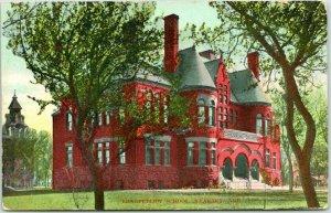 KEARNEY, Nebraska Postcard LONGFELLOW SCHOOL Building / Street View 1908 Cancel
