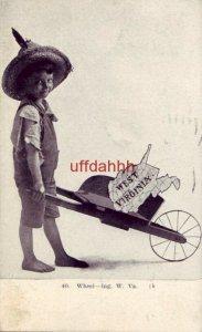 40. WHEEL - ING, W. VA 1910 boy with state of W. VIRGINIA in old wheelbarrow