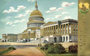 Washington D.C., U.S. Capitol, Coat of Arms (1910s) Gold Embossed