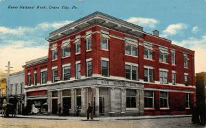 Union City Pennsylvania~Home National Bank~CJ Mahoney Insurance Office~c1910