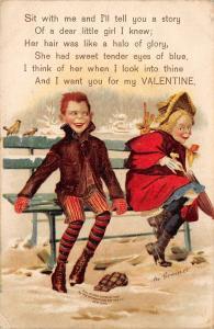 M Greiner Valentine~Redhead Newsboy Courting Pigtail Blonde Girl~Park Bench~IAPC