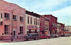 Fairfield IA Street View Store Fronts 1st National Bank Old Cars Postcard
