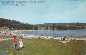 Bedford-Shellsburg Pennsylvania~Shawnee State Park Beach~Sunbathers~1971 PC