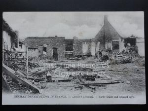 WW1 German Devastation in France - CRESSY Somme Burnt Houses and Wrecked Carts
