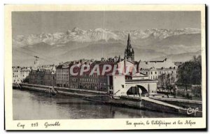 Old Postcard Grenoble The Quays Leleferique And alps
