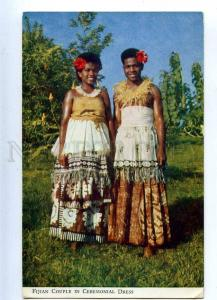 203314 FIJI Fijian Couple in Ceremonial Dress Vintage RPPC
