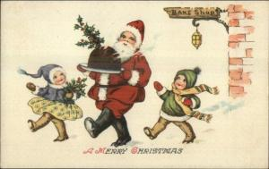 Christmas - Santa Claus Plate of Food - Children at Bake Shop Postcard