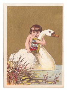 Victorian Trade Card Lavine Soap Hartford Chem Co CT Child Swan Gold Background