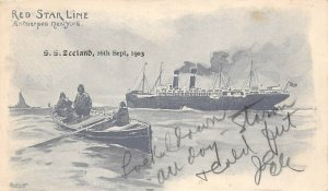 LP32   Ship Red Star Line Cassiers Vintage Postcard  S. S. Zeeland
