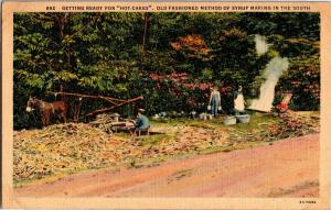 Syrup Making in the South, Getting Ready for Hot Cakes Vintage Postcard Q14