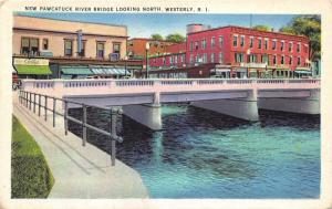 Westerly Rhode Island~New Pawtucket River Bridge Looking North~Stores~1920s Pc