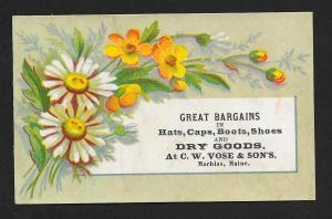 VICTORIAN TRADE CARD CW Vose & Sons Dry Goods