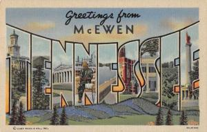 McEwen Tennessee Large Letter Linen Greetings Antique Postcard J78891