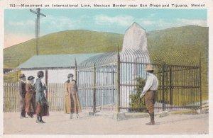 Monument On International Line Mexican Border Postcard