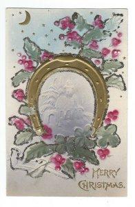 C1907-15 Horseshoe, Four Leaf Clover, Holly Glitter Embossed Christmas Postcard