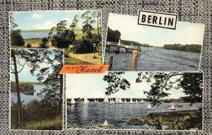 Berlin an der Havel Lake Boats Panorama Postcard