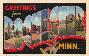ROCHESTER MN Large Letter Minnesota Greetings Vintage Linen Postcard ca 1940s