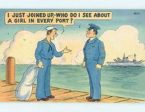 Linen military comic USA NAVY SAILOR WANTS TO SEE A GIRL IN EVERY PORT HL3381