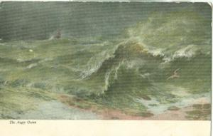The Angry Ocean, early 1900s unused Postcard