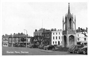 Devizes, Market Place, Old Cars, Voitures, Hotel, with Greetings