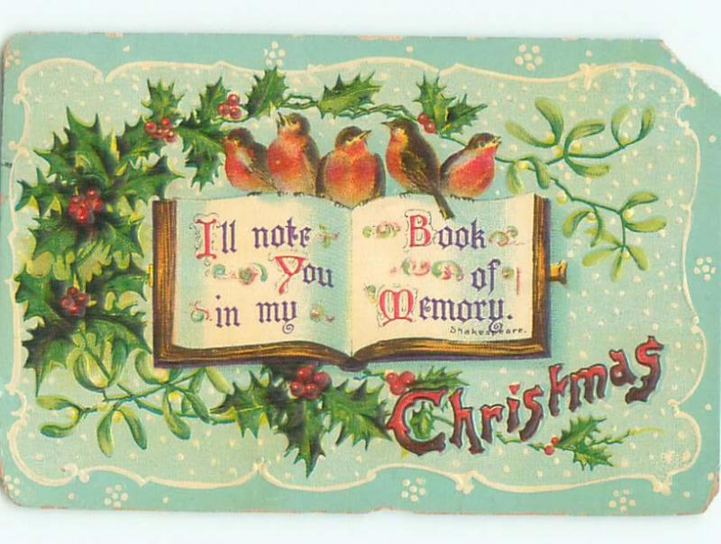 Pre-Linen Christmas CUTE BIRDS SITTING ON WILLIAM SHAKESPEARE QUOTE BOOK AB5107