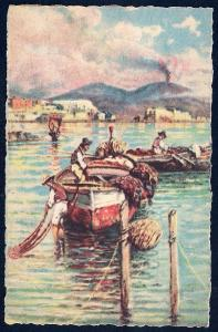 Vesuvius with Boats Naples by Carelli unused c1940's