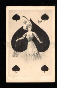 049677 Lady QUEEN of SPADES by SCHIEND Vintage PC