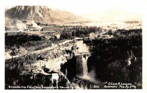 LPS47 Snoqualmie Valley Washington Falls Laidlaw Aerophoto View Postcard RPPC